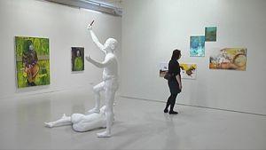 Taidenäyttely Mältinrannassa.