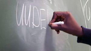 Oppilas kirjoittaa liitutaudulle.