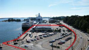 Alue, johon Helsingin Guggenheim-museota suunnitellaan rakennettavaksi.