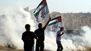Palestiinalaiset heiluttivat lippujaan Bilinin kaupungissa Länsirannalla 31. heinäkuuta.