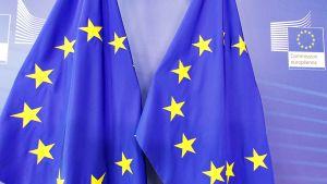Lippuja Euroopan komission pääkonttorissa.