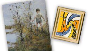Kuvassa taideväärennöksiä, Ilkka Lammin ja Fernard Légerin teokset.