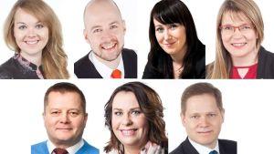 Lapin kansanedustajat Katri Kulmuni, Mikko Kärnä, Hanna Mäntylä, Eeva-Maria Maijala, Markus Mustajärvi, Johanna Ojala-Niemelä ja Markus Lohi