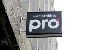 Ammattiliitto Pron kyltti Helsingin Ruoholahdessa.