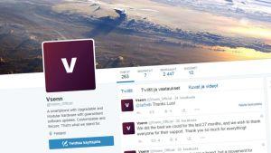 Kuvankaappaus Vsennin Twitter-sivulta