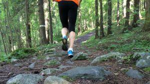 Juoksevat jalat metsäympäristössä.