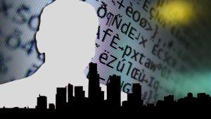Grafiikka, jossa ihmisen siluetti kaupungin siluetin yllä.