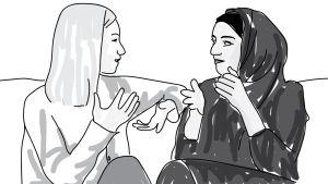 Piirroskuvitus, jossa kaksi naista.