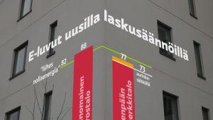 """Uusilla laskusäännöillä Tavanomaisen kerrostalon E-luku olisi 88 kWhE/m2, """"lähes nollaenergiatalon"""" raja 82 ja Järvenpään esimerkkitalon 77."""