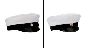 Vasemmalla suomenkielisten perinteinen yo-lakki, oikealla suomenruotsalaisten.