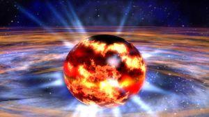 Taiteilijan näkemys neutronitähdestä.