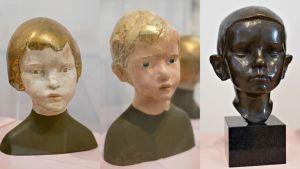 Kolme lasta esittävää Essi Renwallin tuntematonta veistosta.