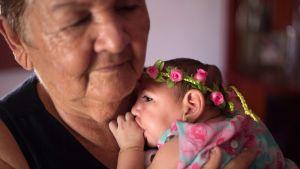 Pikkutyttö, jonka päässä on ruususeppele, imee peukaloa isoäidin sylissä.