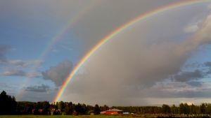Katsojan sääkuva Jämsänkoskelta Paljakankylältä, jossa maalaismaiseman ylle muodostuu sateisen päivän päätteeksi kaksi sateenkaarta.