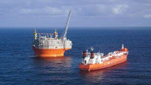 Maailman pohjoisin öljyntuotantolautta Goljat Barentsinmerellä Hammerfestista 85 kilometriä pohjoiseen.