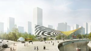 Nanging Sino-Finnish Center Architecture Design Competition -arkkitehtikilpailun ehdotus suomalais-kiinalaiseksi keskukseksi Nangingiin.