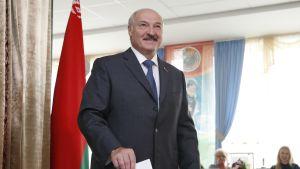 Presidentti Aljaksandr Lukašenka äänestämässä Minskissä sunnuntaina.