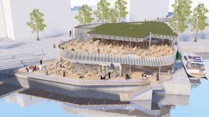 Laukontorin paviljongin ja saunan havainnekuva