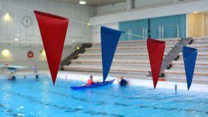 Vesisankarit Kemin uimahallissa kajakki.