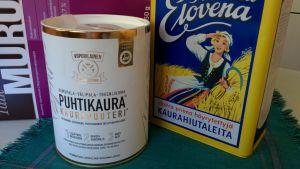 Puhtikaura on uutuustuote, jonka ovat kehittäneet kaksi pientä Taivalkosken Mylly Jalasjärveltä ja Viipurilainen Kotileipomo Vääksystä. Raisio-konsernin Elovena-kaurahiutaleet taas ovat olleet myynnissä yli 90 vuotta.