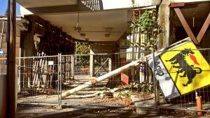 Maanjäristyksen aiheuttamaa tuhoa Italiassa.