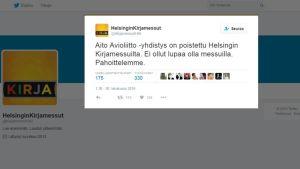 Aito Avioliitto -yhdistys oli luvattomasti Helsingin Kirjamessuilla.