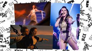 Kuvat: Kuvakaappaus My Heart Will Go On -musiikkivideolta, kuva Titanic-elokuvasta (Paramount) sekä Saara Aalto Uuden Musiikin Kilpailussa (Yle).