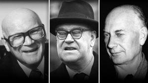 Kuvakooste jossa Kekkonen, Erlander ja Gerhardsen.
