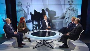 Joona Räsänen, Marjaana Toiviainen, Veera Ruoho ja Mikko Paatero vierailivat A-talkissa torstaina.