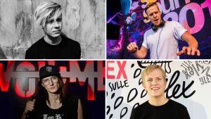 Alex Mattson (ylh. vas.), Rony Rex, Rico Tubbs ja Lenno pitävät DJ:n tärkeimpänä ominaisuutena on kyky luoda hyvä tunnelma ja soittaa hyvää musiikkia.
