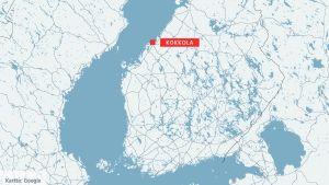 Kartta Kokkolan sijainnista.