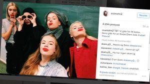 Skam-televisiosarjan hahmoilla on kaikilla omat sometilit. Kuvakaappaus Evan Instagram-tililtä. Kuvassa (vas.) Noora (Josefine Frida Petterssen), Sana (Iman Meskini), Chris (Ina Svenningdal), Vilde (Ulrikke Falch) ja Eva (Lisa Teige).