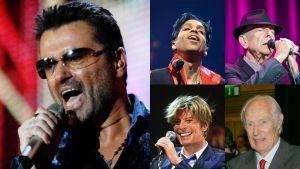 Kuvakollaasi jossa on George Micheal, Prince, Leonard Cohen, David Bowie ja Sir George Martin.