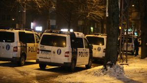 Useita poliisiautoja.