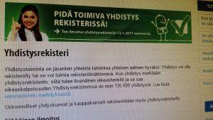 Yhdistysrekisteri Patentti- ja rekisterihallituksen verkkosivuilla.