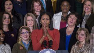Yhdysvaltain ensimmäinen nainen Michelle Obama piti jäähyväispuheensa Valkoisessa talossa 6. tammikuu 2017.