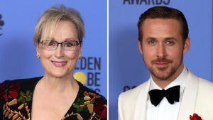 Meryl Streep ja Ryan Gosling olivat Golden Globe -gaalan hahmot.