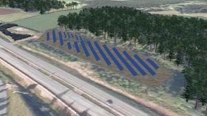 Kuvassa on hahmotelma kesällä 2017 valmistuvasta aurinkopaneelipuistosta.