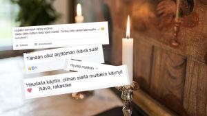 Facebookin surukirjoituksia. Taustalla kuva alttaritaulusta ja kynttilöistä.
