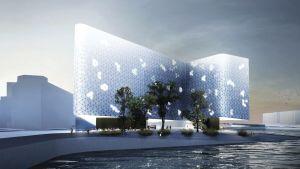 Havainnekuva arkkitehtitoimisto Snøhettan suunnittelemasta Hilbert's Hotellista Hakaniemenrannassa.
