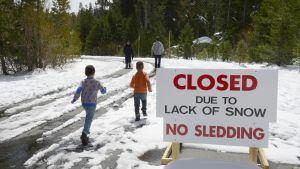 """Kyltissä lukee """"suljettu lumen puutteen takia, kelkkailu kielletty"""".  Kaksi lasta ja kaksi aikuista kävelee tiellä, jossa on lunta mutta asfaltti näkyy urien kohdalla."""