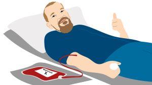 Sauli luovuttamassa verta.