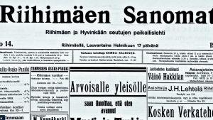 Kuva Riihimäen Sanomien etusivusta 17.2.1917