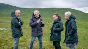 Ohjaaja Danny Boyle ja näyttelijät Ewan McGregor, Ewen Bremner ja Jonny Lee Miller