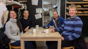 Social Friday -konseptin toteuttajat. Vasemmalta oikealle: Pia Haapalainen, Akseli Leppänen, Toni Immonen ja Ville Keränen.