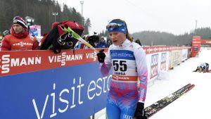 Johanna Matintalo Otepään kisan jälkeen sunnuntaina.