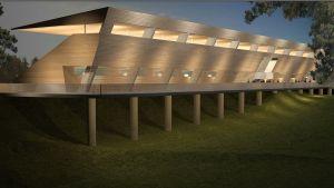 Havainnekuva: Harjun Stadionin uudesta katsomosta tulee puupinnotteinen.