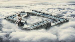 Pilvien yläpuolella oleva poika katsoo paperivenettään puron varrella.