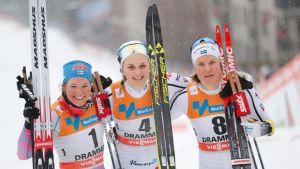 Drammenin sprintin kolme parasta: Krista Pärmäkoski (vas.), Stina Nilsson ja Hanna Falk.