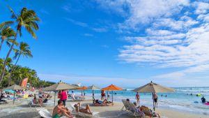 Turisteja Waikikin rannalla.